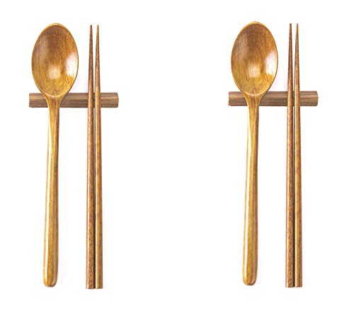 2 Sets of Wood Spoons, Chopsticks, Holders, Korean Style Wooden Spoon Chopstick Holder for Dining Table Display