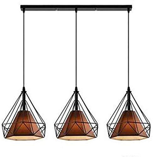 E27 Lámpara Colgante Industrial 3 Luces Jaula de Metal Vintage Colgante Colgante Lámpara Lámpara de Techo Loft Lámpara Colgante Luz Para Barra De Cocina Desayuno Café Y Oro Negro 3 Luces Rectas