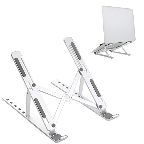 JARLINK Adjustable Laptop Tablet Stand, Foldable Aluminum Desktop Laptop Riser Compatible with All Laptops iPad Tablet (up to 15.6 inches), Silver