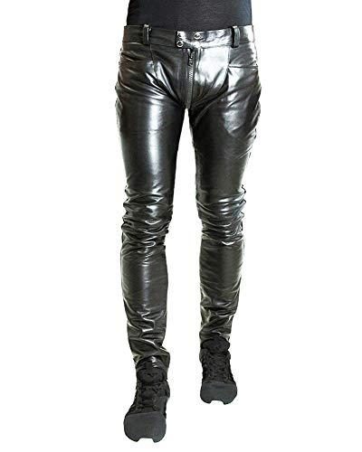 Bockle® 3G-Zip Schwarze Herren Lederhose mit durchgehendem Zip, Size: W32/L34