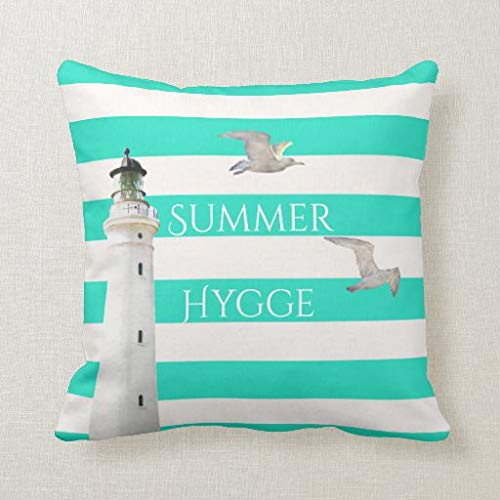 Viowr22iso Lumbar Pillow Covers, Hygge summer turquoise white nautical stripes Cushion Cover Pillow Case 18x18 Inch for Sofa Couch Decoration