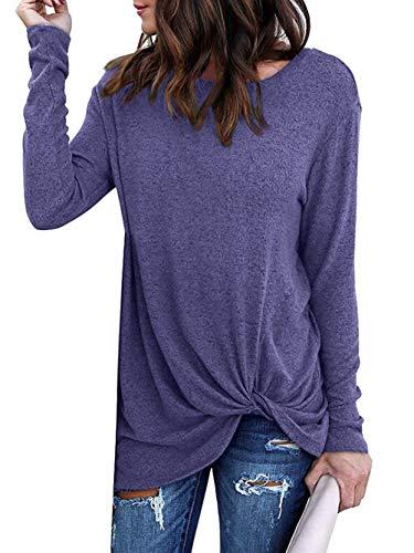 Yidarton Women's Comfy Casual Twist Knot Tunics Tops Blouses Tshirts Blue