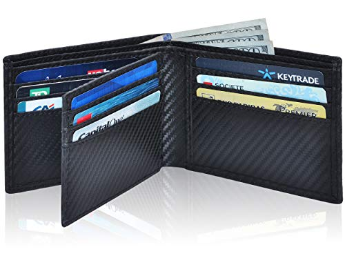 Leather Wallets for Men - RFID Slim Leather Wallet for Men, Black, Size Small