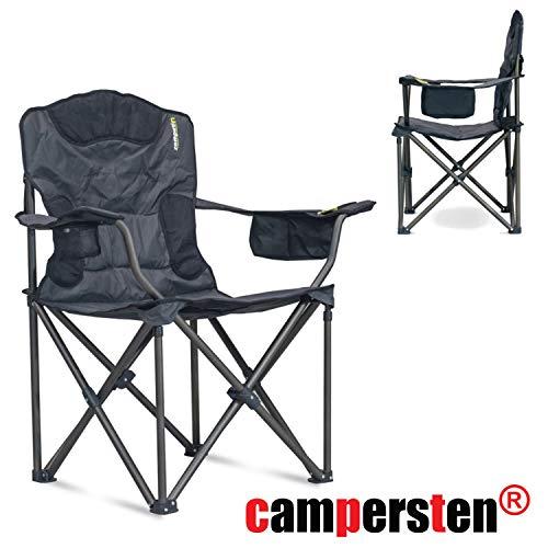 campersten XXL Campingstuhl | EXTRA breite Sitzfläche | hohe Tragkraftvon 180KG | EXTRA Sitzkomfort | inkl. Isolierfach für kühle Getränke