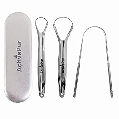 ActivePur Tongue Scraper Cleaner (3 Pcs) Best Stainless Steel Tongue Cleaner Seller, Use mouth wash, toothpaste for Bad Breath, Improve good Oral Hygiene, Handy Metal Travel Carry Case.