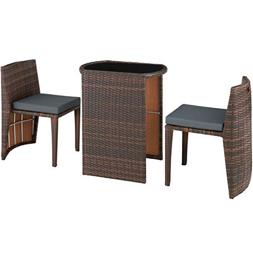 Hamburg Compact 2 Seater Rattan Bistro Outdoor Furniture Patio Set