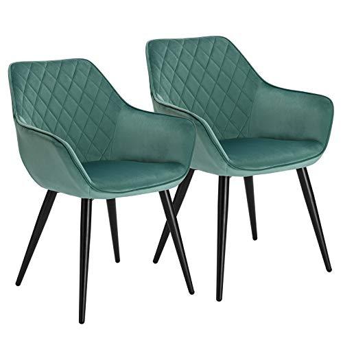 WOLTU Esszimmerstühle BH153ts-2 2er Set Küchenstühle Wohnzimmerstuhl Polsterstuhl Design Stuhl mit Armlehne Samt Gestell aus Stahl Türkis