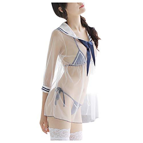Frauen Erotische Dessous Set Cosplay Schulmädchen Sexy Student Kostüm Uniform Shirt + Minirock Sailor Suit Set Netz Transparent Strümpfe Unterwäsche