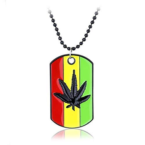 Collar Hombre Weed Reggae Colgantes Cadena De Metal Collares Colgantes Hoja De Arce Colgante Joyería Planta Hojas Collar Regalo para Hombres Mujeres