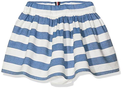 Tommy Hilfiger Iconic Chambray Stripe Skirt Jupe, Blanc (Bright White 123), 92 Bébé Fille