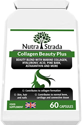 Collagen Beauty Plus Complex, Hyaluronic Acid, Astaxanthin, Vitamin C, Biotin and More. 60 Capsules. One Month Supply. Made in The UK. GMP Standards.