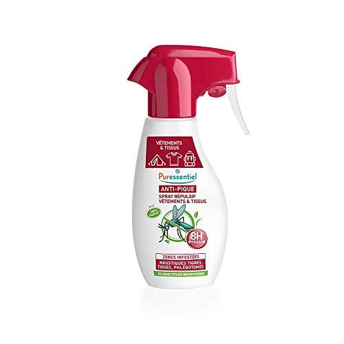 Puressentiel - Anti Pique - Spray Répulsif - Vêtements et tissus - Moustiques tigres, tiques, phlébotomes - Actif 100% végétal - 150 ml