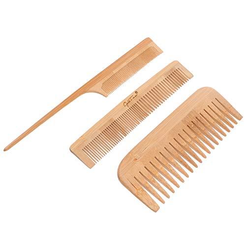 FRCOLOR 3 Piezas de Peine de Bambú Cepillo Fino Y de Dientes Anchos Peine de Cola de Rata Peine de Barbero Cepillos para El Cabello para Mujeres Y Hombres