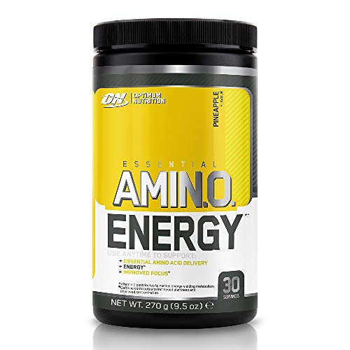 Optimum Nutrition Amino Energy, Pre Workout in Polvere, Energy Drink con Beta Alanina, Vitamina C, Caffeina et Aminoacidi, Ananas, 30 Porzioni, 270 g, il Packaging Potrebbe Variare