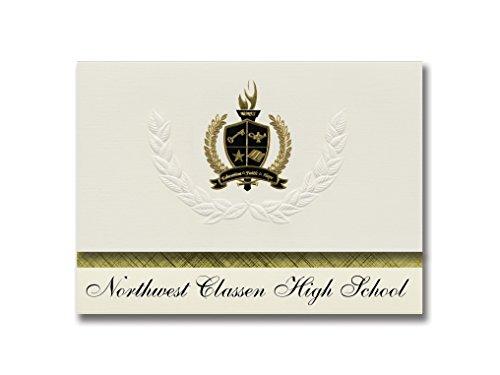 Signature-Ankündigungen Northwest Classen High School (Oklahoma City, OK) Abschlussankündigungen, Präsidential-Elite-Packung mit 25 goldfarbenen und schwarzen Metallfolienversiegelungen