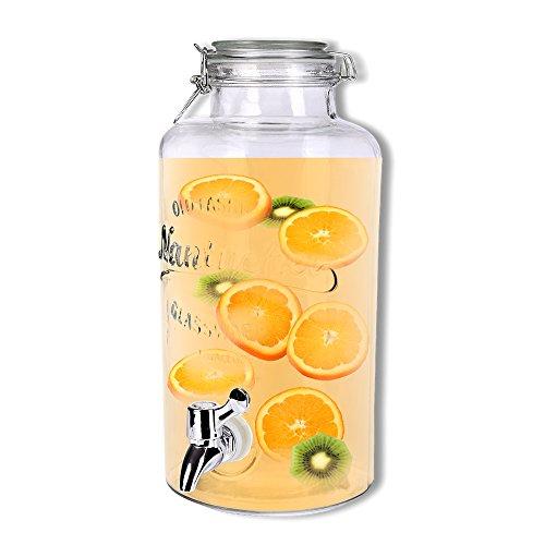 Schramm® Getränkespender ca. 3,8 Liter mit Drahtbügelverschluss 32cm Ø 14cm Zapfhahnflasche Weckglasoptik Saftspender