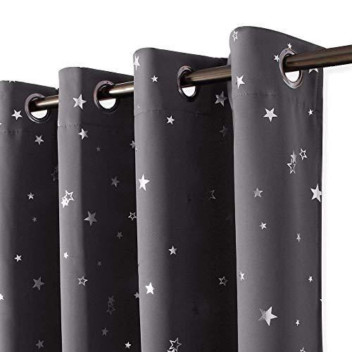 PONY DANCE Sterne Vorhänge Kinderzimmer - Thermo Gardinen Blickdicht Sterne Kindergardinen Junge Vorhang Blickdicht Ösenschal, 2er Set H 182 x B 132 cm, Grau