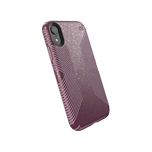 Speck Products Compatible Phone Case for Apple iPhone XR, Presidio Grip + Glitter Case, Starlit Purple with Gold Glitter/Cattleya Pink