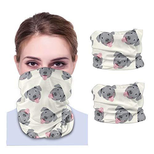 ZHANGPEIENfaqi Caras grises – Perro – Bandanas crema máscara facial cuello polaina diademas pasamontañas variedad cubierta mágica (2 piezas) con bolsillo interior