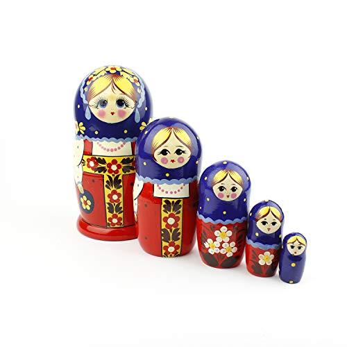 Russische Matroschka-Puppen, 5 traditionelle Matroschkas Roter Sarafan-Stil | Babuschka Holzpuppen, Traditionelles Kostüm-Design, Handgefertigt in Russland | Roter Sarafan, 5 Stück, 18 cm