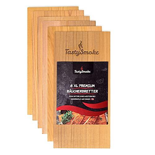 TastySmoke® Premium Zedernholzbrett zum Grillen – 100% Naturprodukt aus Western Red Zeder – Grillbretter aus Zedernholz im 6er Vorteilspack – mehrmals wiederverwendbar