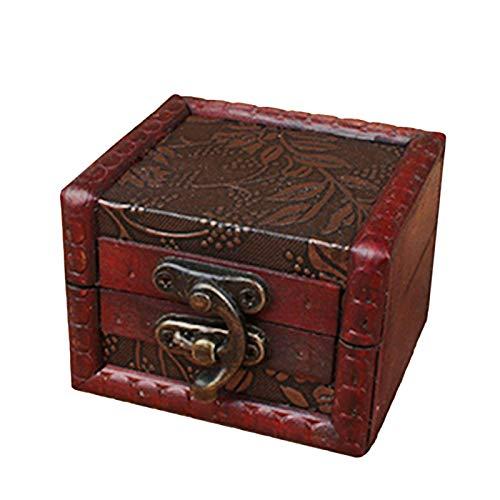 Caja de almacenamiento para pendientes pequeños de madera, diseño vintage