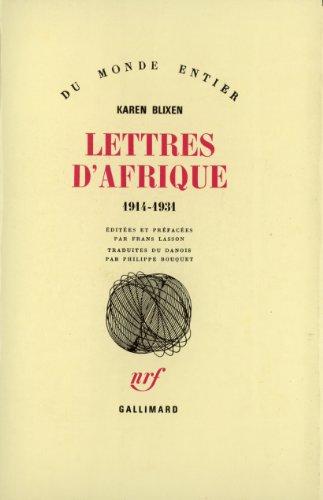 Lettres d'Afrique, 1914-1931