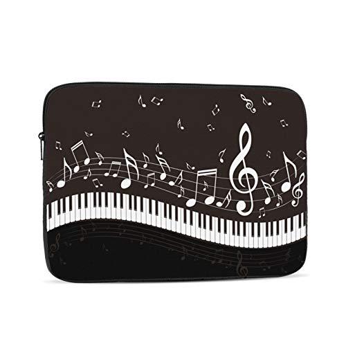 Black Music Note Piano Musiknoten Hintergrund. Laptop-Tasche,Laptop-Hülle,Polyester Universal-Hülle Reißverschluss Notebook Schutzhülle,schwarz 12 Zoll