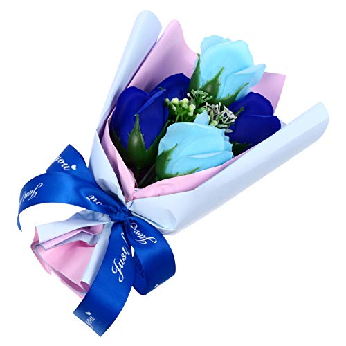 ABOOFAN Seife Rose Geschenkstrauß Künstliche Blumen Blumenstrauß Box Duftend Blumengeschenk für Valentinstag Jubiläum Geburtstag Neujahrsgeschenk (Blau)