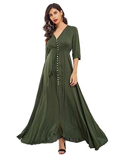 Milumia Women's Button Up Split Floral Print Flowy Party Maxi Dress Army Green Small