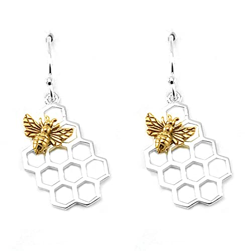 Sterling Silver Honeycomb Charm with Bronze Bee Earrings