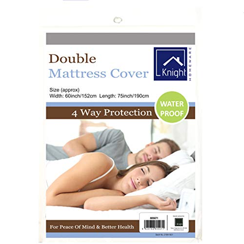 Knight Waterproof Mattress Protector Cover | 100% PEVA Chloride-free Odourless Soft-touch | Single Double King Super-King (Double (190cm x 152cm))