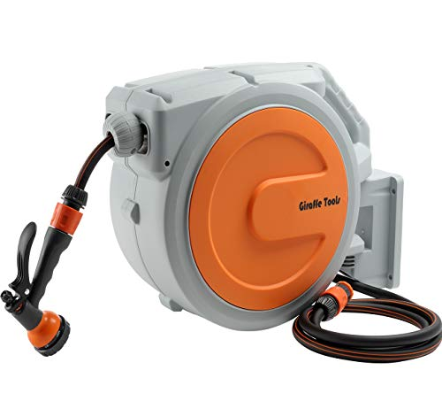 Giraffe Garden Hose Reel, 20m+2m Wall-Mounted Hose Pipe Reel with 7 Pattern Sprayer Nozzle, Automatic Hosepipe Reel