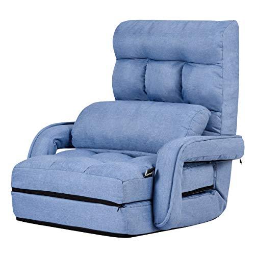 GIANTEX-Sillón Cama Plegable, Sofá Plegable con Reposabrazos y Almohadas, Respaldo Ajustable en 5 Escalones, Sillón Funcional para Salón y Oficina (Azul)