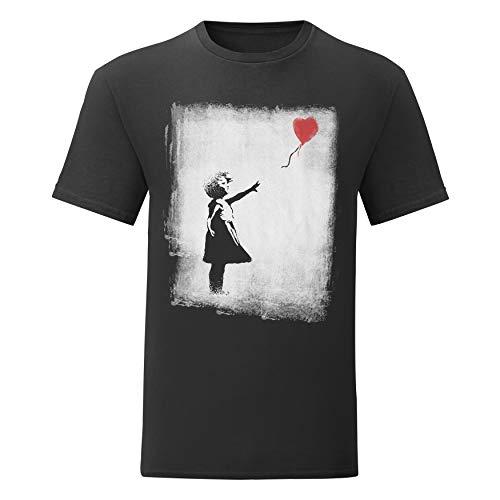 LaMAGLIERIA Camiseta Hombre Banksy - Balloon Girl - T-Shirt 100% algodòn, S, Negro