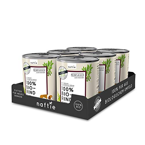 naftie Bio Hundefutter 100% Bio-Rind | Reinfleisch Rind pur | Nassfutter zum Mischen, Barf-Fleisch | Glutenfrei | Getreidefrei | Sparpaket 6 x 800 g Dosen
