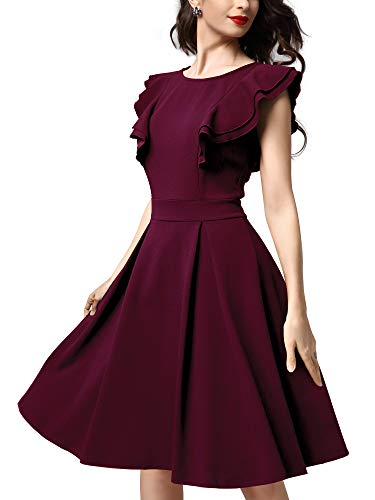 Knitee Women's Vintage Ruffled Sleeveless A-line Flare Pleated Cocktail Party Skater Swing Dress,Small,Burgundy