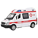FAMKIT 1:36 modelo de ambulancia camión tire hacia atrás modelo de aleación con sonido LED juguete educación aprendizaje juguetes cumpleaños Halloween para niños de 3 años en adelante