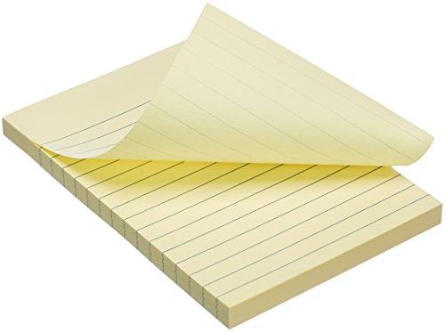 "Amazon Basics Lined Sticky Notes - 4"" x 6"", Yellow, 5-Pack"