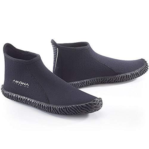 Akona 3,5mm corte bajo botas, botines para submarinismo, Kayak, pesca submarina, Snorkeling, barco cubierta de zapatos, zapatos, zapatos de agua, negro