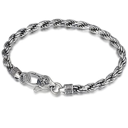WWZY Pulsera de Plata Elegante para Hombre/Mujer de Plata 925 Largo 18-20cm Pulsera de Plata Trenzado Cuff Hombre Mujer,20cm
