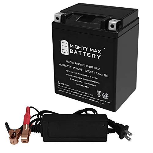 Mighty Max Battery YTX14AHL Battery Replaces Magneti Marelli MMX14AHL + 12V 2Amp Charger Brand Product