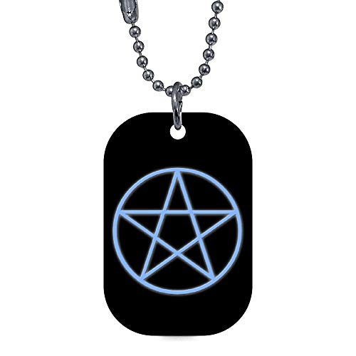 onepicebest Pet ID Tags, Personalized Dog Tags and Cat Tags, Falln Pagan Pentacle Pet Tags - Custom Double Sides Rectangle Puppy Tag - Stainless Steel