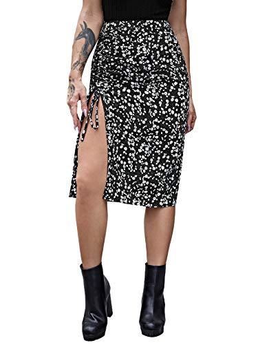SweatyRocks Women's Boho Floral Print Drawstring Ruched Split Side Midi Skirt Floral Black M