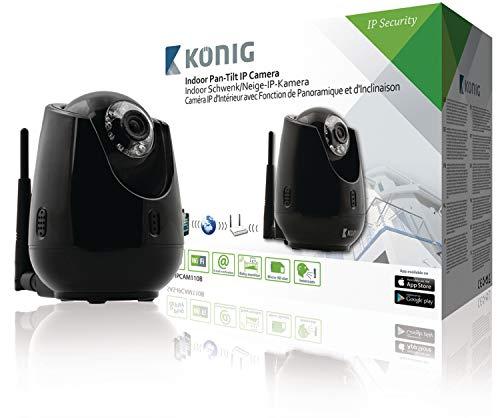 König SAS-IPCAM110B Telecamera IP Pan-Tilt per Interni per la Videosorveglianza a Distanza, Nero