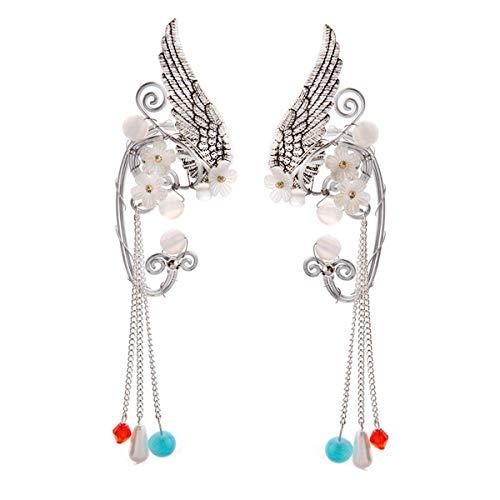 SXNK7 Chic Elf Pearl Hollowed Flower Leaf Cosplay Fairy Ear Wrap Cuffs Earrings for Women Girls Wedding Jewelry 1 Pair (Wings Colorful Tassels)