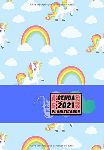 Agenda 2020 2021 Planificador A5: Diseño de Portada Unicornios Azul - Bonitas Agendas semana vista DIN A5- Pequeña y de bolsillo con calendario de 18 ... eventos y fechas en páginas para tu día a día