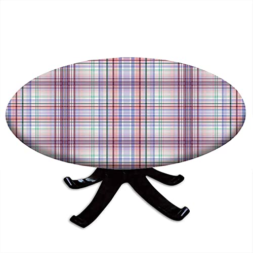 Checkered Round Tablecloth with Elastic Edges, Thin Geometric Strips Retro Folkloric Irish Cultural Design, Printing Design, Fits Tables 48' - 52' Diameter Light Pink Violet Blue Turquoise