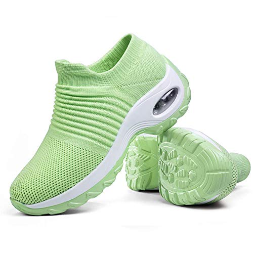 Women's Walking Shoes Sock Sneakers - Mesh Slip On Air Cushion Lady Girls Wedge Jazz Dance Easy Shoes Platform Loafers Green,10