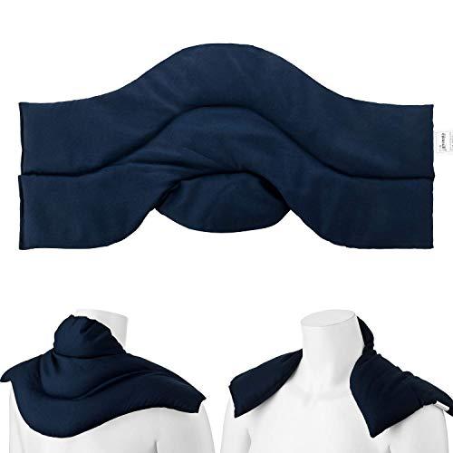 Aminata BALANCE Rapssamenkissen Schulter-Nacken-Kissen Wärmekissen gefüllt mit Raps-Samen für Mikrowelle geeignet für Wärme- & Kälte-Anwendung, Nackenhörnchen mit Stehkragen - Marine-blau Uni-Farben